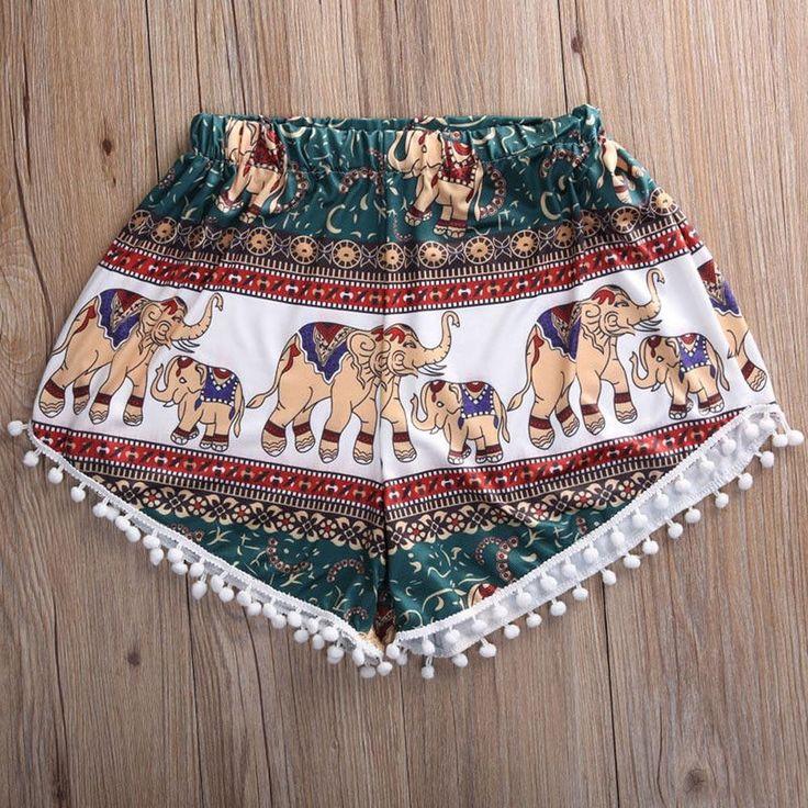 Feitong Summer Women High Waist Shorts 2017 Fashion Boho Elastic Waist Tassels Elephant Print Beach Casual Mini Shorts Feminino