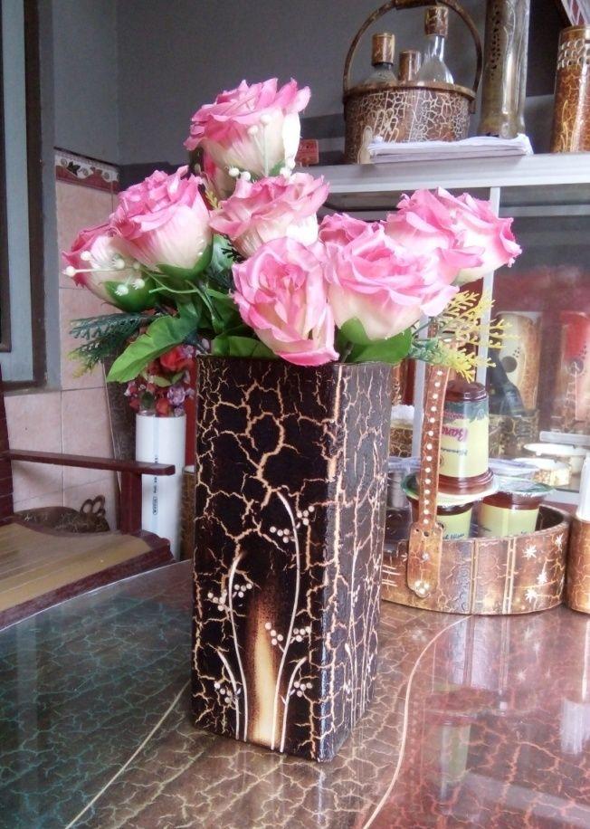 Vas Bungan Kotak Paralon Bakar dengan bahan PVC