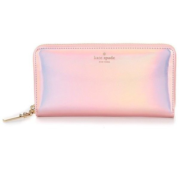 kate spade new york Rainer Lane Collection Lacey Zip-Around Wallet (913355 PYG) ❤ liked on Polyvore featuring bags, wallets, pink bag, pink zip around wallet, kate spade, pink wallet and kate spade bags