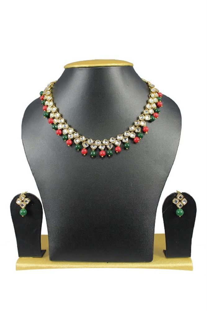 Ethnic Indian Bollywood Red & Green Pearls Kundan Wedding Wear Necklace Set #natural_gems15 #GoldPlated