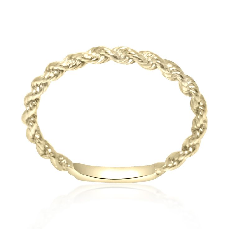 14K Yellow Gold Twisted Band  Total Weight: 1.0 g Dimensions: 1.7 mm Ring Size: 5 TU-#M3892 SKU: 10017103 This yellow gold twisted band is sure to be loved. #ropering #stackablering #jewelry