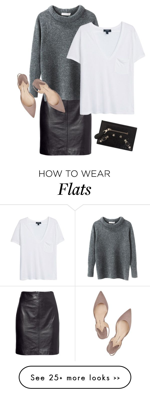 MINIMAL + CLASSIC: nude flats with grey + black- trendsy on Polyvore featuring H&M, Etoile Isabel Marant, MANGO, Paul Andrew and Balenciaga