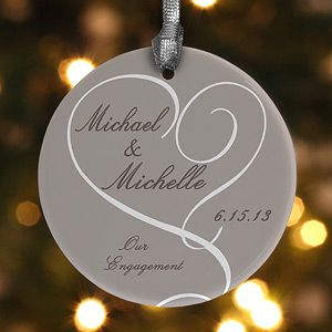 "This ""Our Engagement"" personalized ornament is beautiful! What a sweet way to remember your engagement! #Wedding #Engagement"