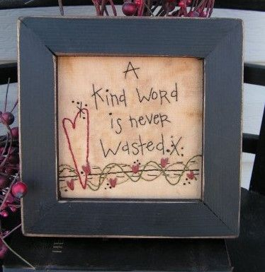 Cedarberry Stitches 828 Kind Word The Pattern Hutch primitive embroidery stitchery craft pattern sayings friends heart