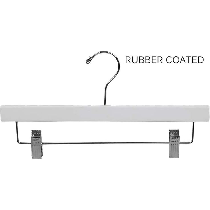 American White Rubberized Wooden Pant Hanger with Adjustable Cushion Clips, Rubber Coated Bottom Hangers with Chrome Swivel Hook (box of