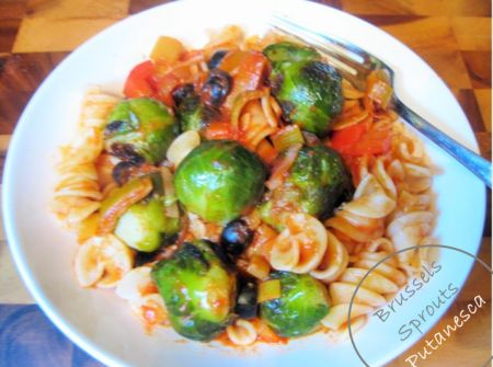 Brussels Sprouts Putanesca Pasta. Try this recipe you will fall in love with Brussels Sprouts again! Vegan, pasta