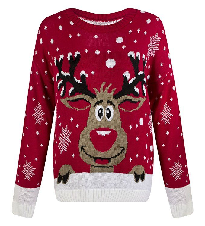 Womens Knitted Christmas Novelty Santa Reindeer Penguin Snowman Jumper SweaterUK 12/14 AUS 14/16 US 8/10Red White Reindeer