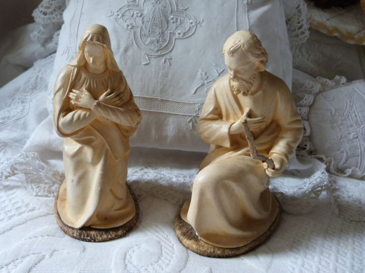 Antique Christmas nativity creche antique French figurine statue Holy Family Holy Virgin Mary, saint Joseph, French holiday home decor by MyFrenchAntiqueShop on Etsy