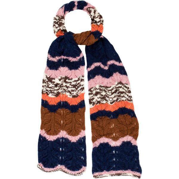 Pre-owned M Missoni Chunky Cable Knit Scarf ($70) ❤ liked on Polyvore featuring accessories, scarves, blue, cable knit scarves, blue scarves, colorful scarves, blue shawl and colorful shawl