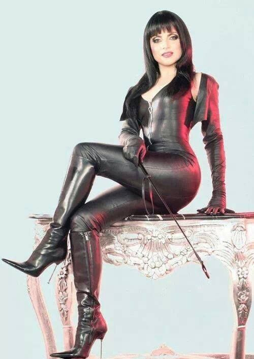 Latex catsuit and boots tv