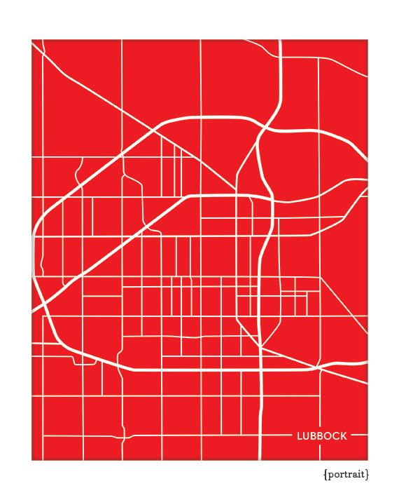 Lubbock TX City Map Wall Art Print / Texas Tech University Grad Gift or Dorm Decor / 8x10 / Personalized colors