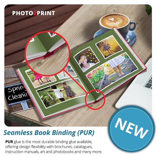 Photo2Print is launching Seamless Binding or PUR. Apart from using the strongest glue in bookbinding, it securely binds any number of pages from 40 up to 200.