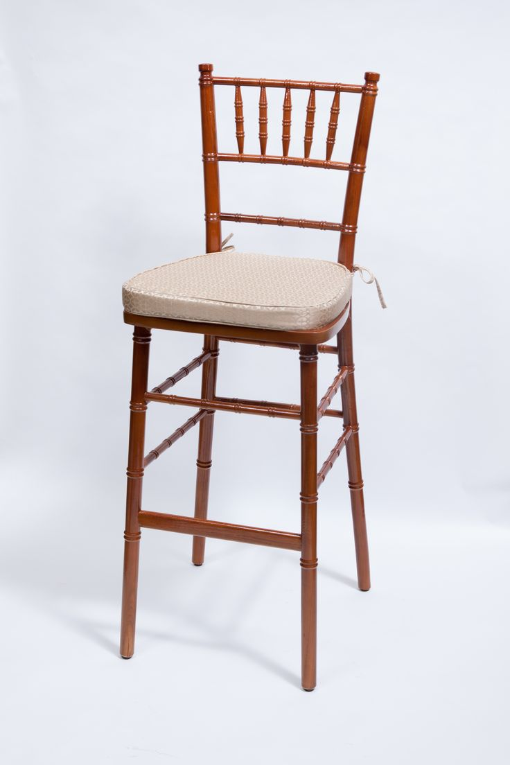 Fruitwood Chiavari Barstool By Vision Furniture With Circle Gold Cushion  With Ties.
