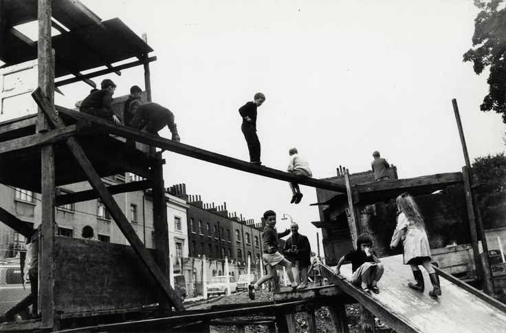 Adventure Playground, Islington, London, c. 1957. Copyright Estate of Roger Mayne, Courtesy Gitterman Gallery.