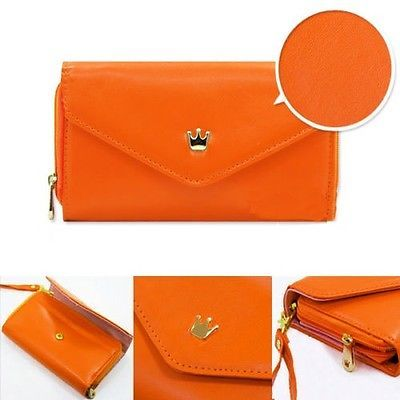 Crown Luxury Wallet Pocket Flip Purse Pouch PU Leather for Phone iPhone Orange