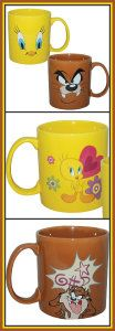 Looney Tunes Collectible Tazmanian Devil & Tweety 14oz. Ceramic Mugs