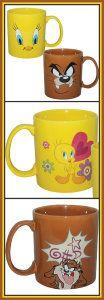 Looney Tunes Collectible Tazmanian Devil & Tweety 14oz. Ceramic Mugs
