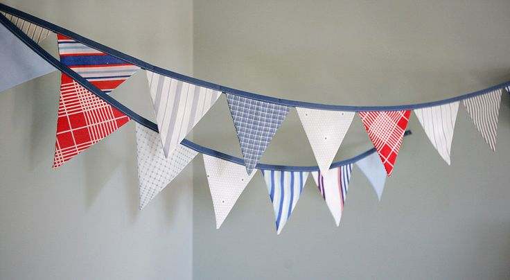 Patriotic Bunting Banner / Nautical Flag Garland / Independence Day / Memorial Day / Red White Blue / Nautical Nursery Decoration by TheBuntingPlace on Etsy https://www.etsy.com/listing/84853411/patriotic-bunting-banner-nautical-flag