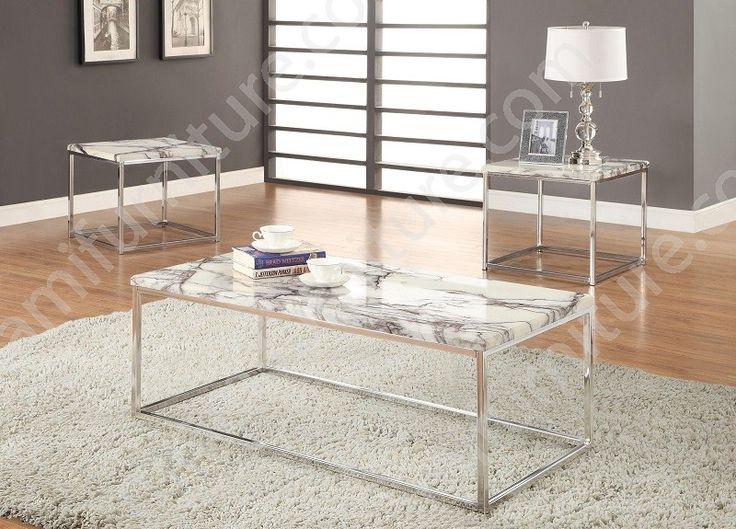 701626 White Marble 3 Piece Coffee Table Set - Miami Furniture