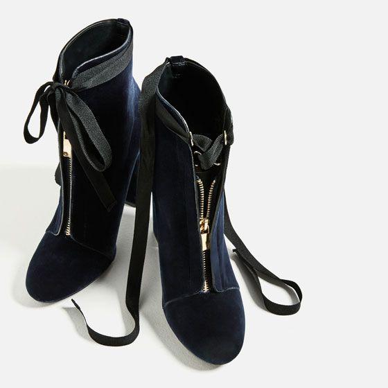 Image 5 of HIGH HEEL VELVET ANKLE BOOTS from Zara