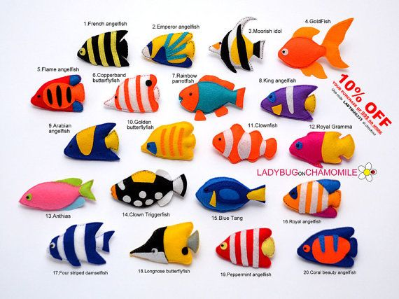 CORAL reef FISHES felt magnets, Tropical fishes - Price per 1 item - make your own set - Tang,Butterflyfish,Clownfish,Angelfish,Triggerfish,