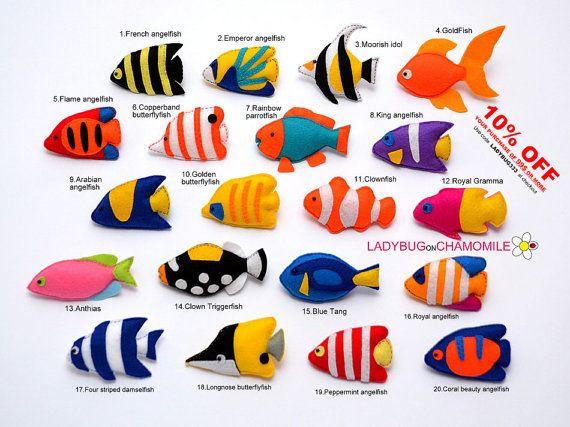 Korálový útes RYBY magnety z plsti, tropické ryby - Cena za 1 ks - vyrobit si vlastní sadu - Tang, butterflyfish, klaun, skaláry, triggerfish,