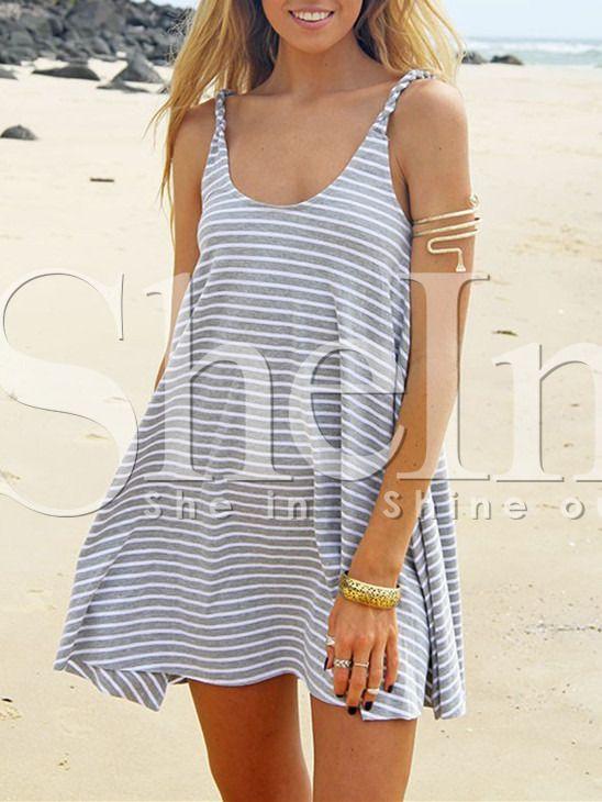 Grey Spaghetti Strap Striped Dress -SheIn(Sheinside)