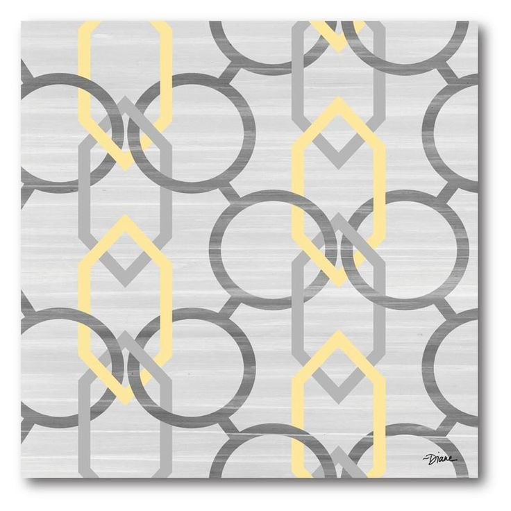 Have to have it. Yellow and Gray Links II Canvas Wall Art - 16W x 16H in. - $33.99 @hayneedle