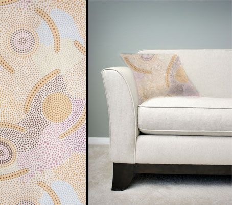 Design:  Man's Ceremony Sand Size: 50cm square - 100% cotton - zip Australia Made Code: CUSH-BUL04 Price: $30.00