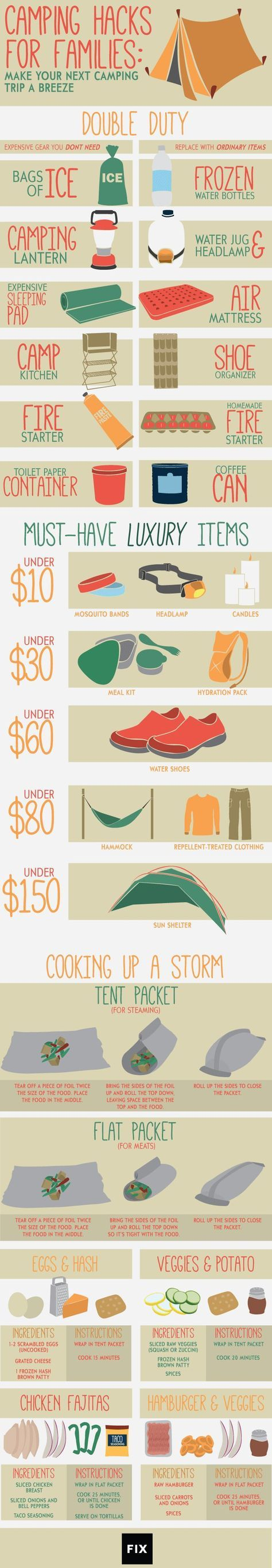 Follow these fun camping hacks to save time, space, and money on your next family trip! #Camping