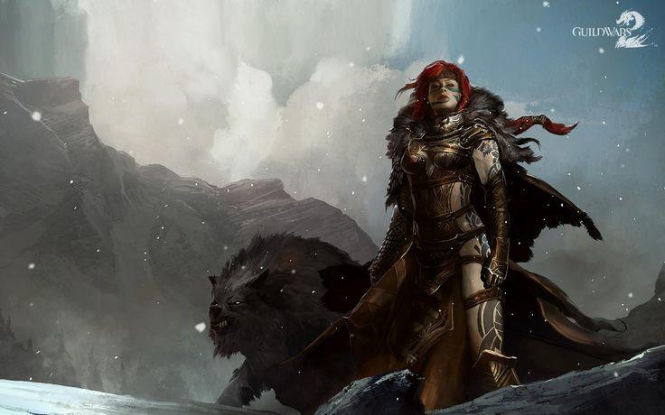 Guild Wars Девушка Воин Снежинки