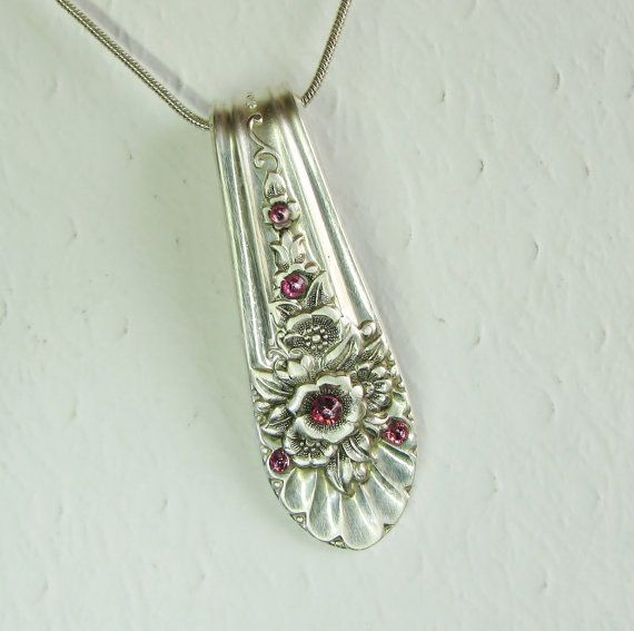 Spoon Necklace, Jubilee 1953, Pink Swarovski Crystals, Spoon Jewelry via Etsy