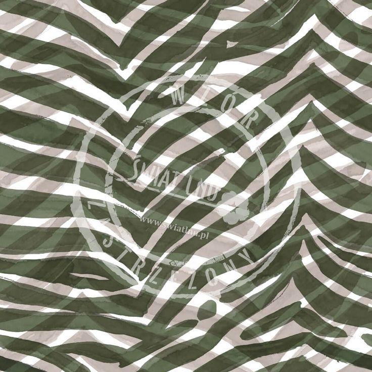 Druk na tkaninach naturalnych: len, bawełna, wiskoza. Autorska kolekcja wzorów jedyna i niepowtarzalna. Zatop się w głębi kolorów. Pracownia Druku - drukujemy również na Twoich tkaninach.  #pracowniadruku #tkaniny #wzory   Wzór Zielona Zebra   Green  Zebra Painted Pattern