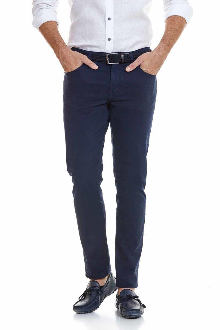 5 Cepli Lacivert Slim Fit Pamuk Kanvas Pantolon