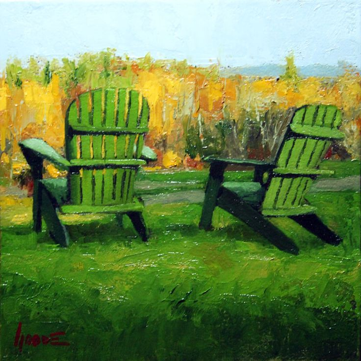 green adirondack chairs new journal post for oil on panel