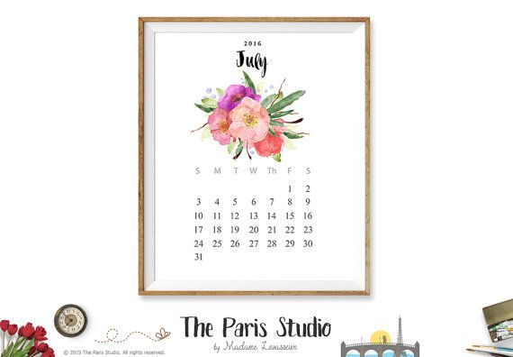 2016 Printable Calendar Instant Download Calendar 2016 Monthly Calendar 2016 Watercolor Floral Calendar Printable Wall Art Calendar