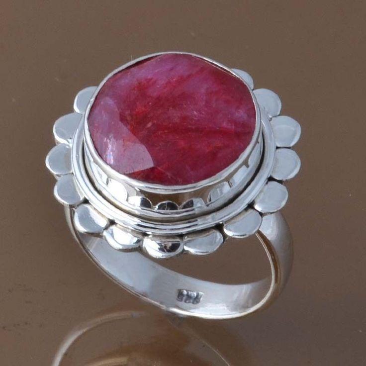 925 SOLID STERLING SILVER RUBY RING 6.34g DJR8308 SZ-6 #Handmade #Ring