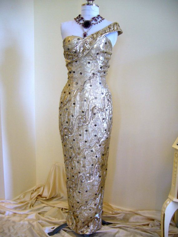 Magnificent RARE SHOWGIRL Bombshell 1950s Glamorous Metal LAME One Shoulder Plunge Wiggle Dress Gown - Fishtail Draped Matching Wrap Shawl