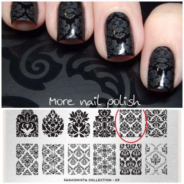 Black Damask Nail Art by @morenailpolish - stamp plate: moyou London Fashionista…