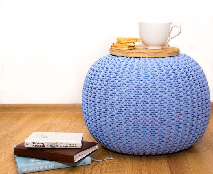"Вязаный Пуф цвет ""Голубой"" Scandinavian style Knitted pouf"