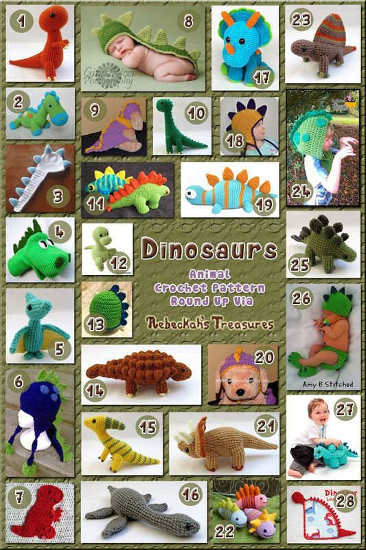 28 free and paid crochet patterns for dinosaurs, roundup by Rebeckah's Treasures