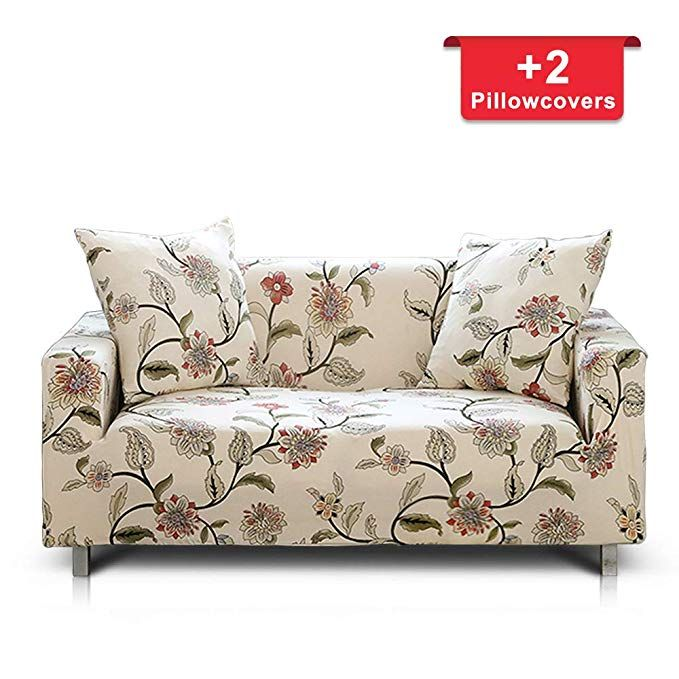Hipinger Spandex Fabric Stretch Couch Cover Sofa Slipcover Stylish Furniture Protector For 2 Cushion Couch Loves Slip Covers Couch Loveseat Covers Printed Sofa