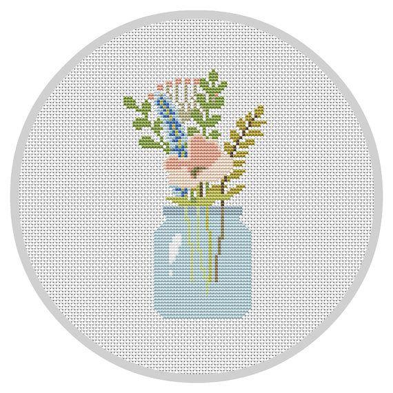 Flowers PDF Cross Stitch Pattern Flower Arrangement por Xrestyk