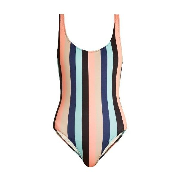 Solid & Striped The Anne-Marie striped swimsuit found on Polyvore featuring swimwear, one-piece swimsuits, multi, swim costume, scoop neck one piece swimsuit, swimming costume, bathing suit swimwear and low back bathing suit