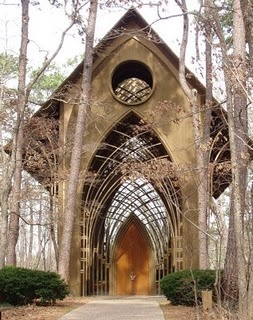 Fay Jones Chapel. Loved being in a wedding here. It was winter, just as the sun was setting over a western peak. Love his work.