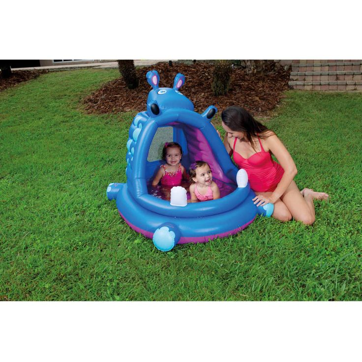 Inflatable Swimming Pool Kiddie Hippo Covered Baby Play Outdoor Home Swim Pools #H2OGO