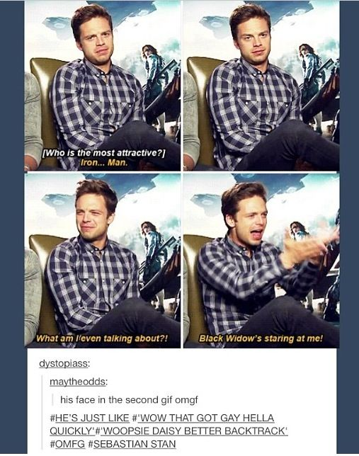 Sebastian Stan... ---- HAHAHA!! I love his face and the comment is just fucking funny as hell!!