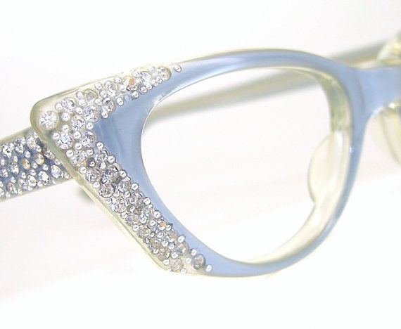 funky eyeglass frames 9fev  Vintage Ice Blue Cat eye Glasses Sunglasses Eyeglasses Rhinestone Never  Worn Sm