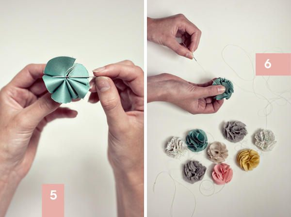 DIY fabric flowers. make garland, hair accessories, etc.