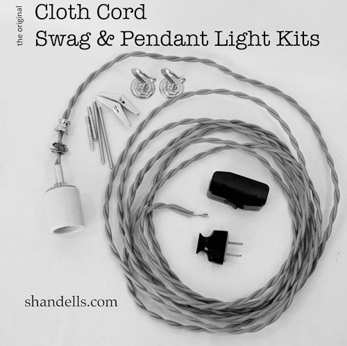 The Original Cloth Cord Pendant Light Kit from Shandells.com -- Make your own unique swag light.
